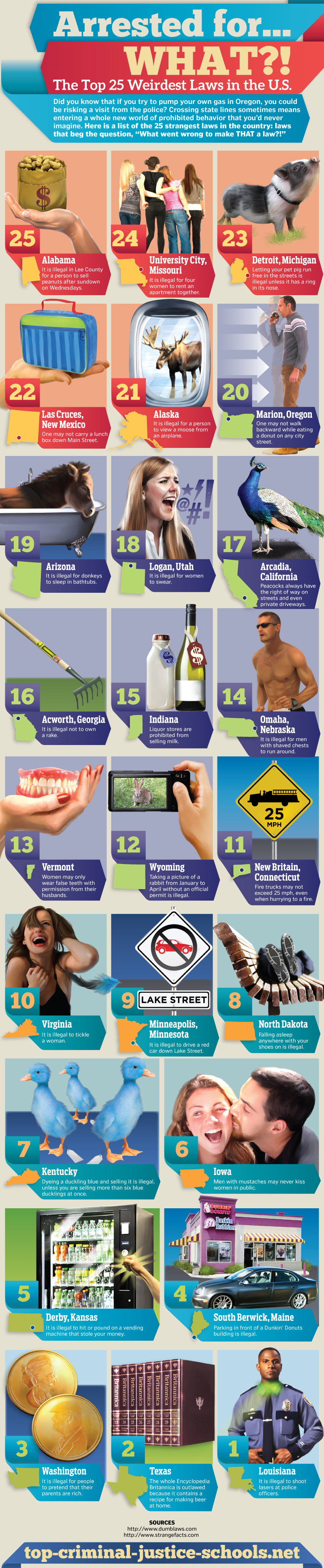 Arrested for What? The Top 25 Weirdest Laws in the U.S.