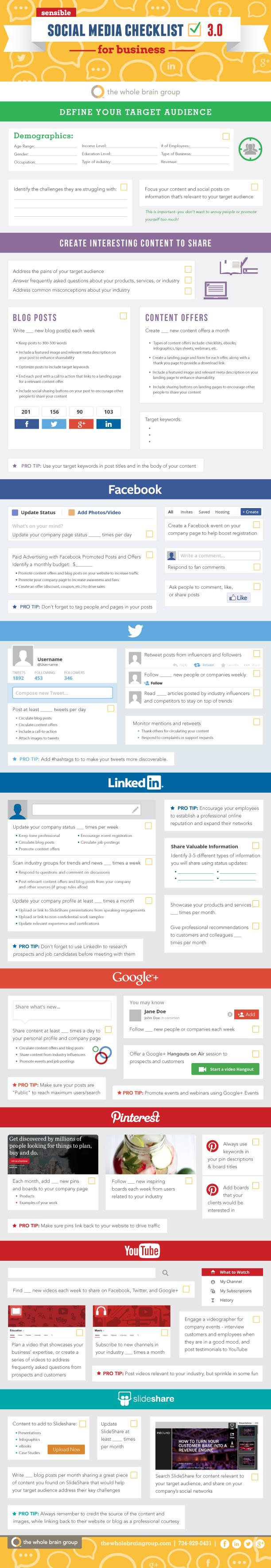 Sensible Social Media Checklist for Businesses v3.0