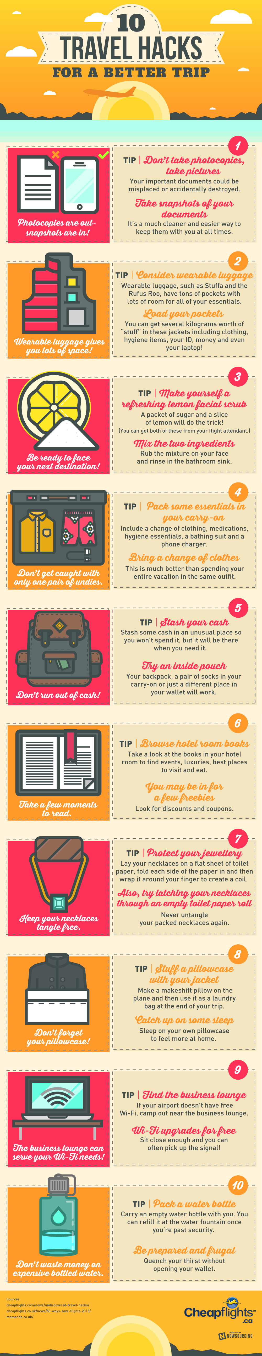 Top 10 Travel Hacks For A Better Trip Infographic