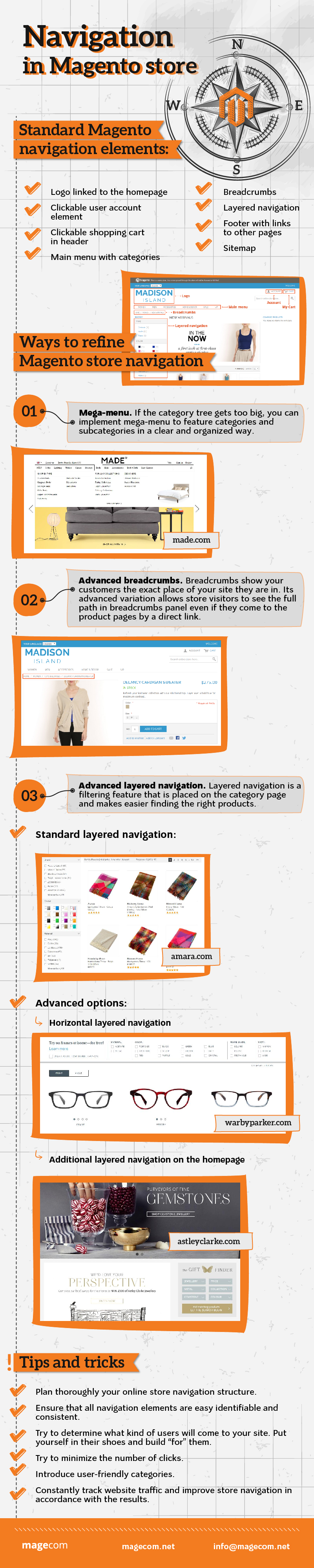 Navigation in Magento Shop