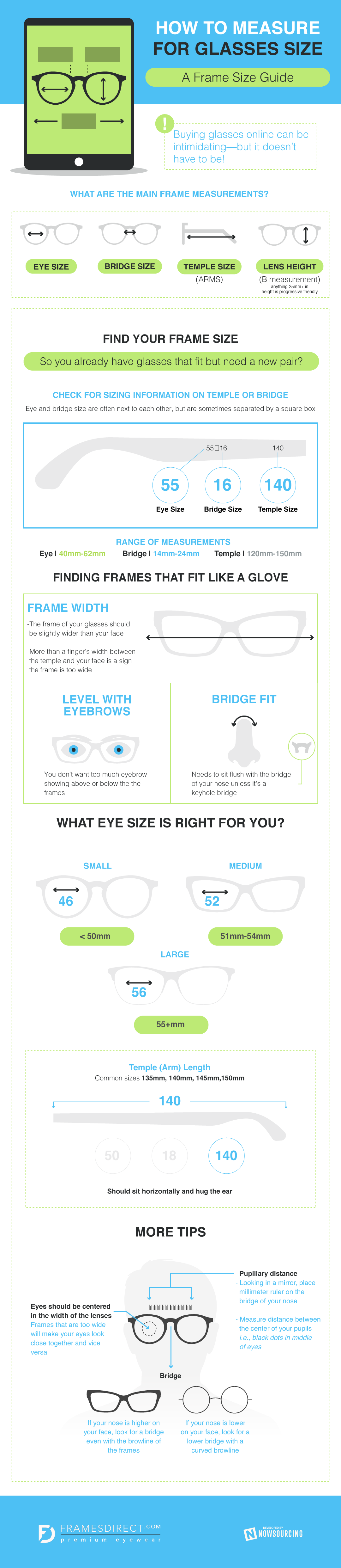 How To Determine Glasses Frame Width : How To Measure For Glasses Size [Infographic]