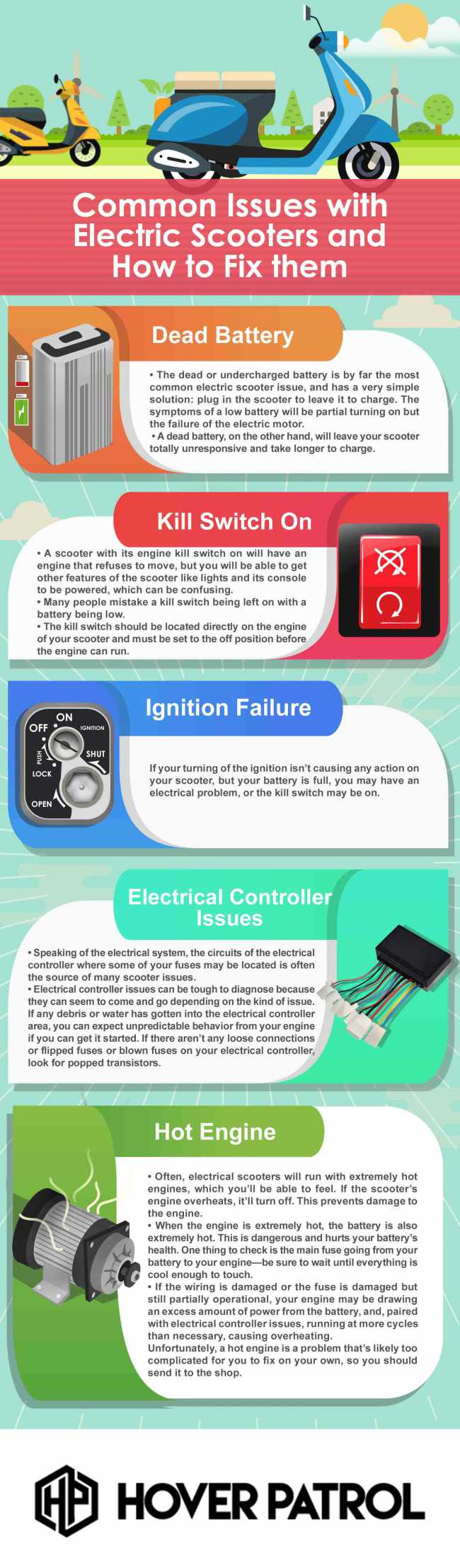 infographic on fixing an electric scooter