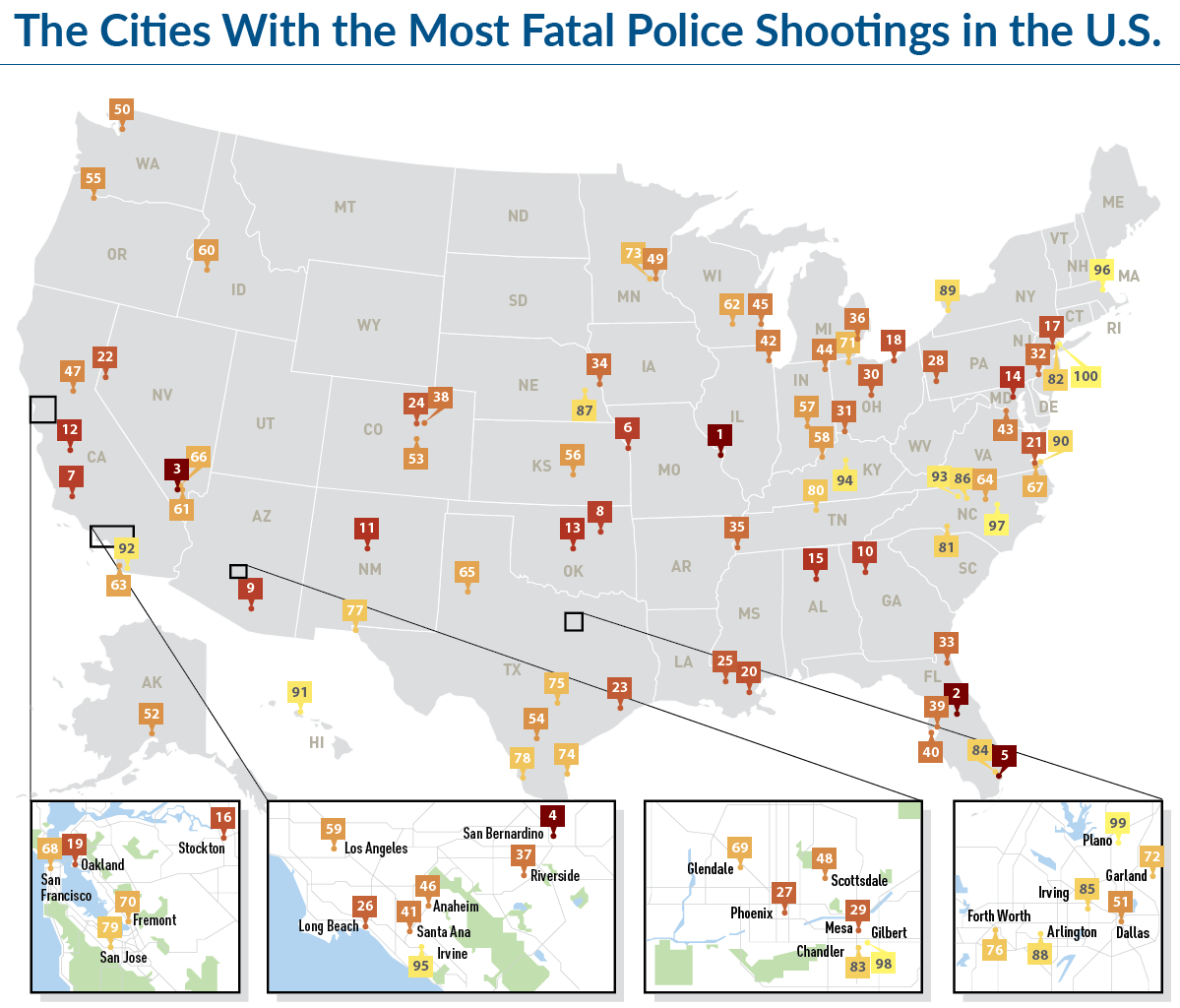 The Cities With the Most Fatal Police Shootings in the U.S.